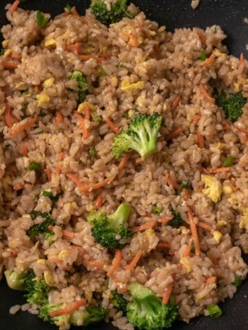 Close up of fried rice in a walk