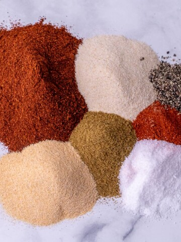 All the taco spices laid out