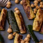 Close up of roasted zucchini and hazelnuts
