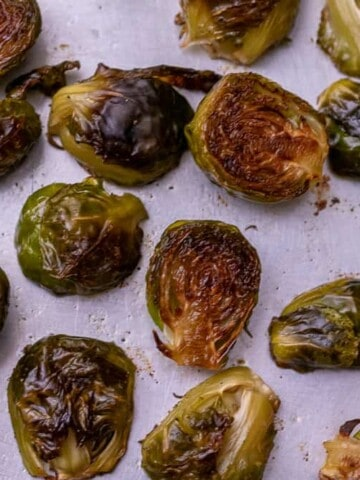 Close up of roasted brussel sprouts