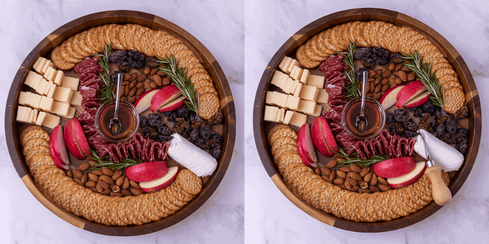 The final 2 process photos for the cheese plate.