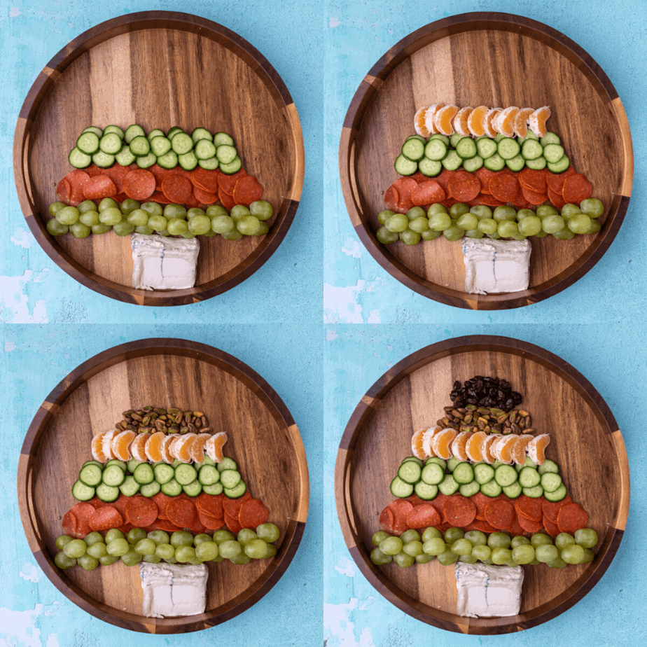 Process photos on how to build the christmas tree cheese plate step by step.