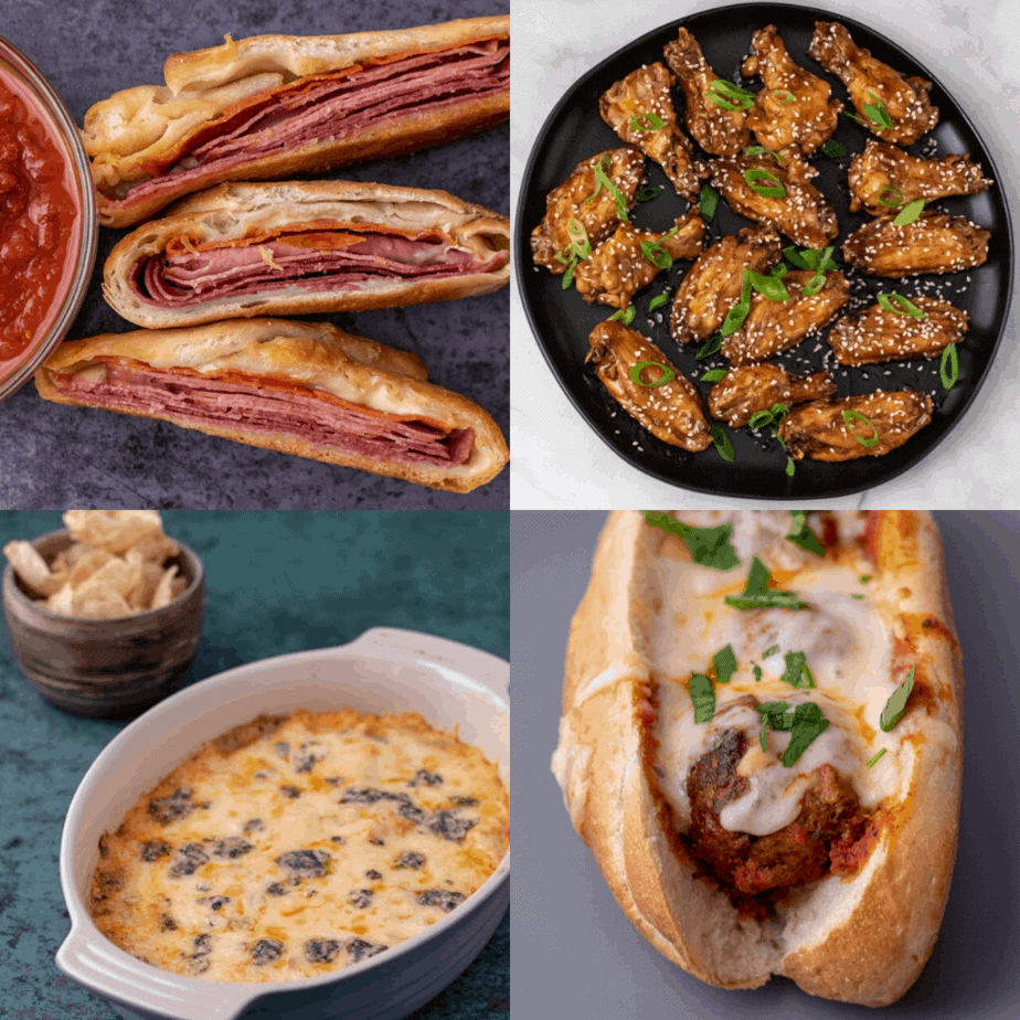 A grid of 4 photos, stromboli, teriyaki chicken wings, three cheese buffalo chicken dip and meatball subs.