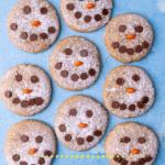 Pinterest graphic for snowman peanut butter cookies.