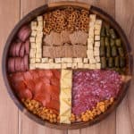 Super bowl cheese board with the cheese as a field goal