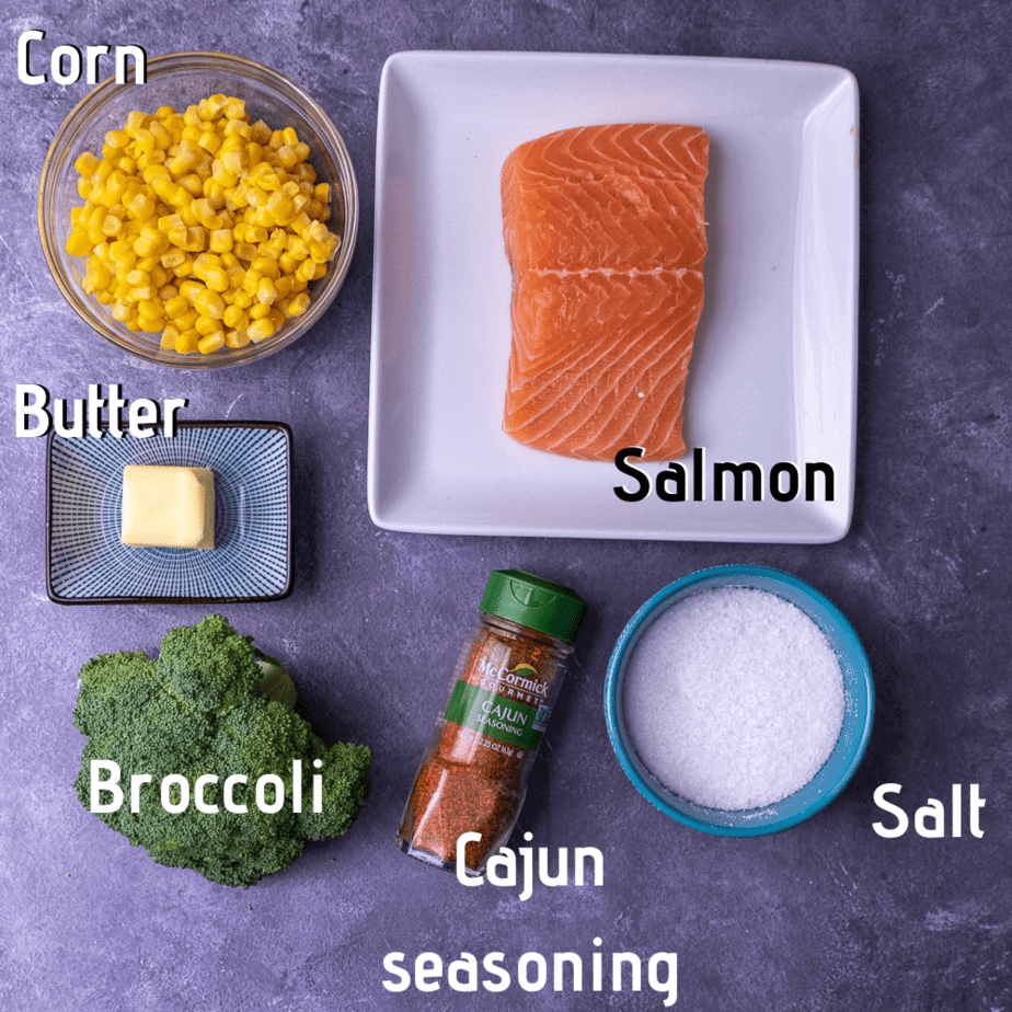 Raw ingredients for foil packet dinners