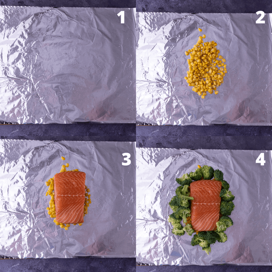 Process shots of how to layer the foil package.