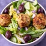 Close up of greek meatball salad.