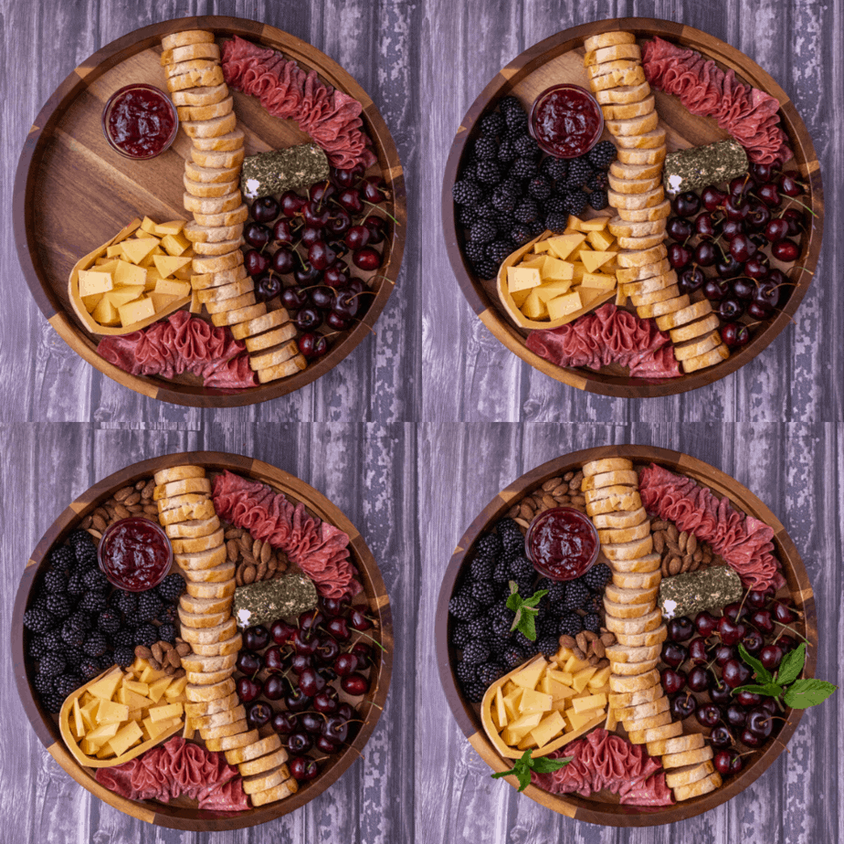Process photos of how to build a cheese plate