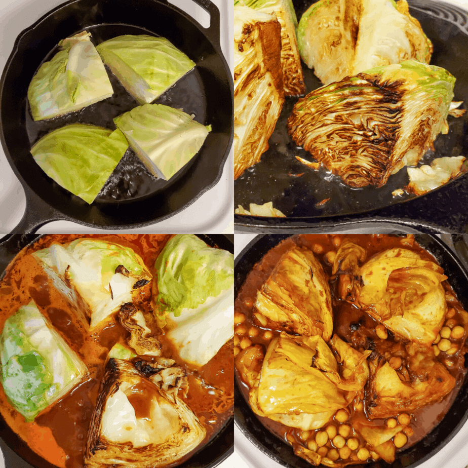 Process photographs of the steps of how to cook the cabbage and what it looks like at different steps.