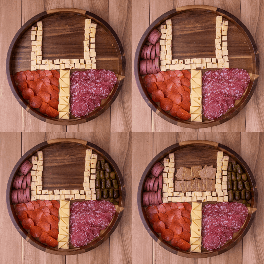 Process photos for how to build a game day football cheese plate step by step.