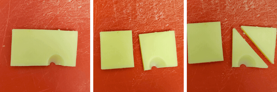 3 process photos that shows how to cut swiss cheese into small triangles.