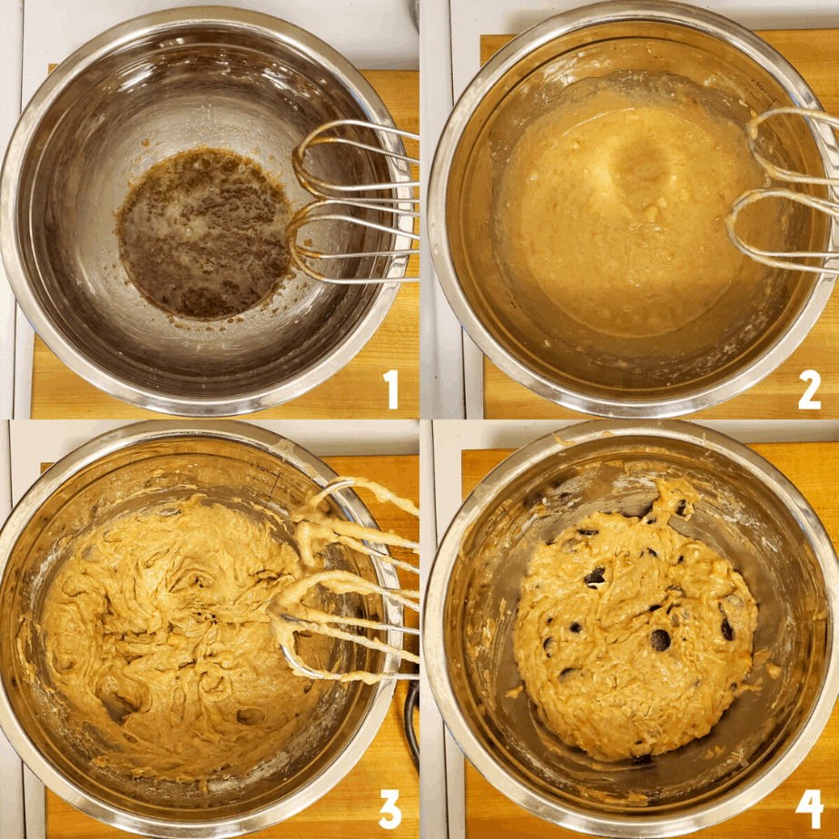 Collage of the four steps of mixing the batter.