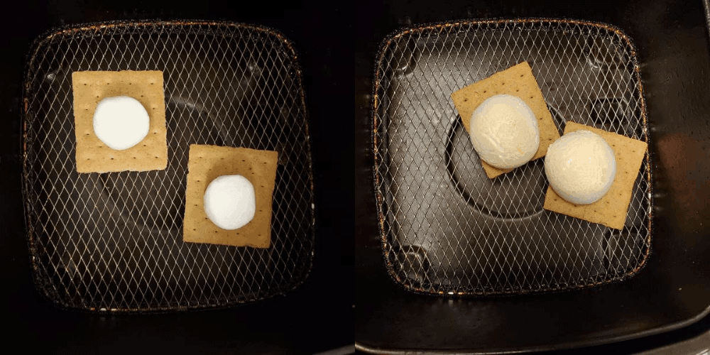 Before and after s'mores cooked in the air fryer