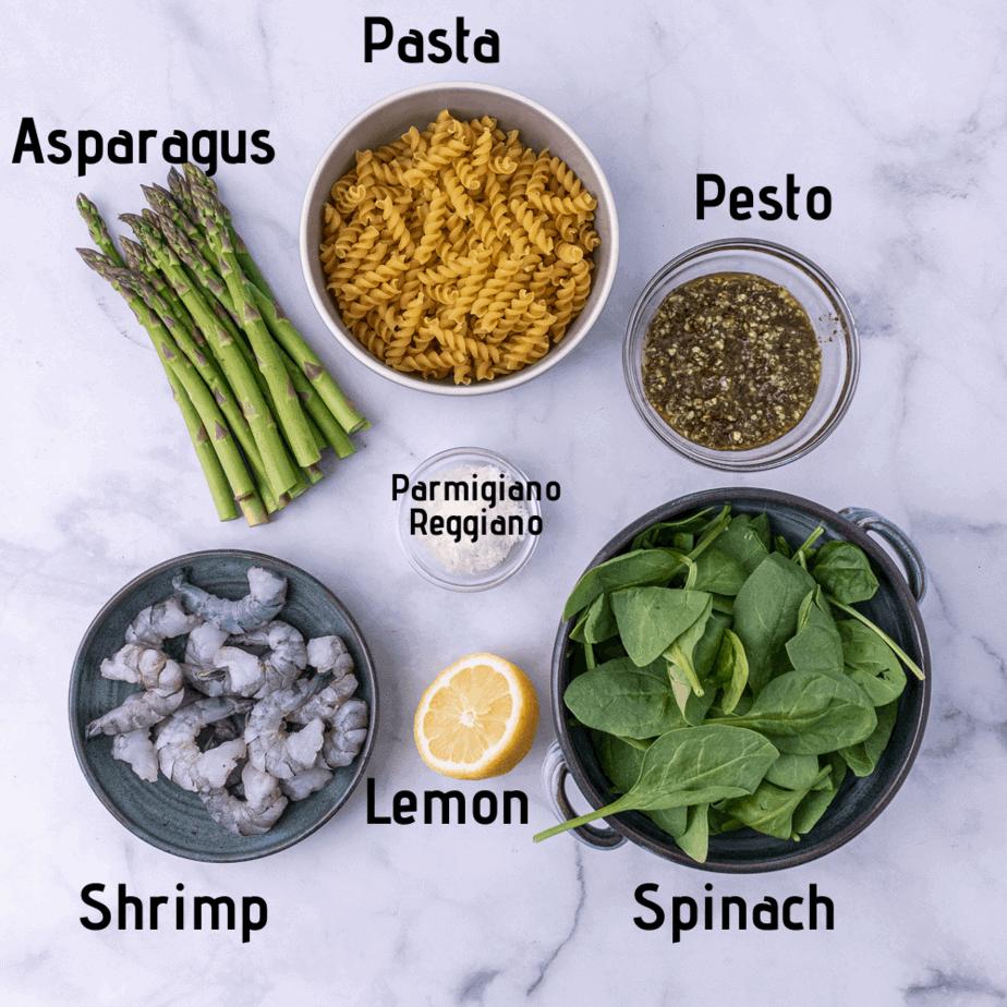 Ingredients for lemon pesto pasta