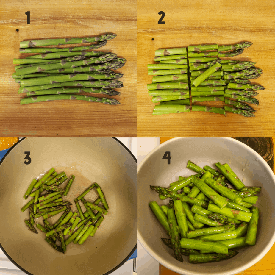 Process photos on how to cut and cook asparagus