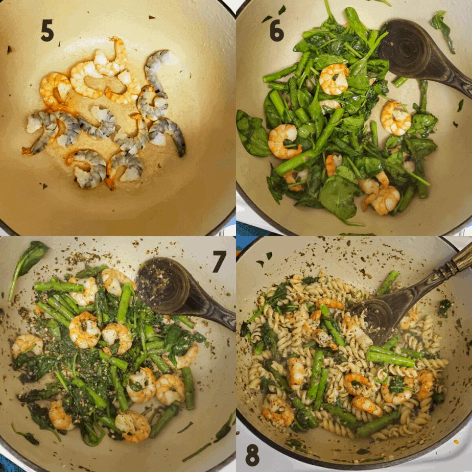 Process photos on how to stir pasta
