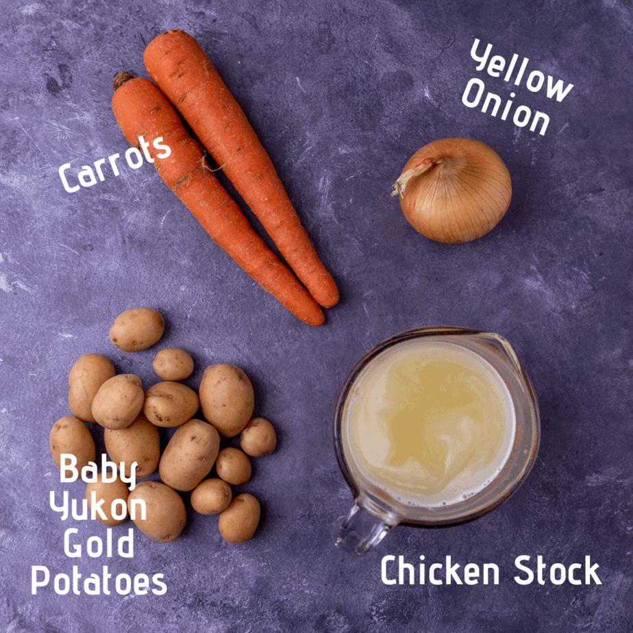 Ingredients laid out and labeled for the vegetables.