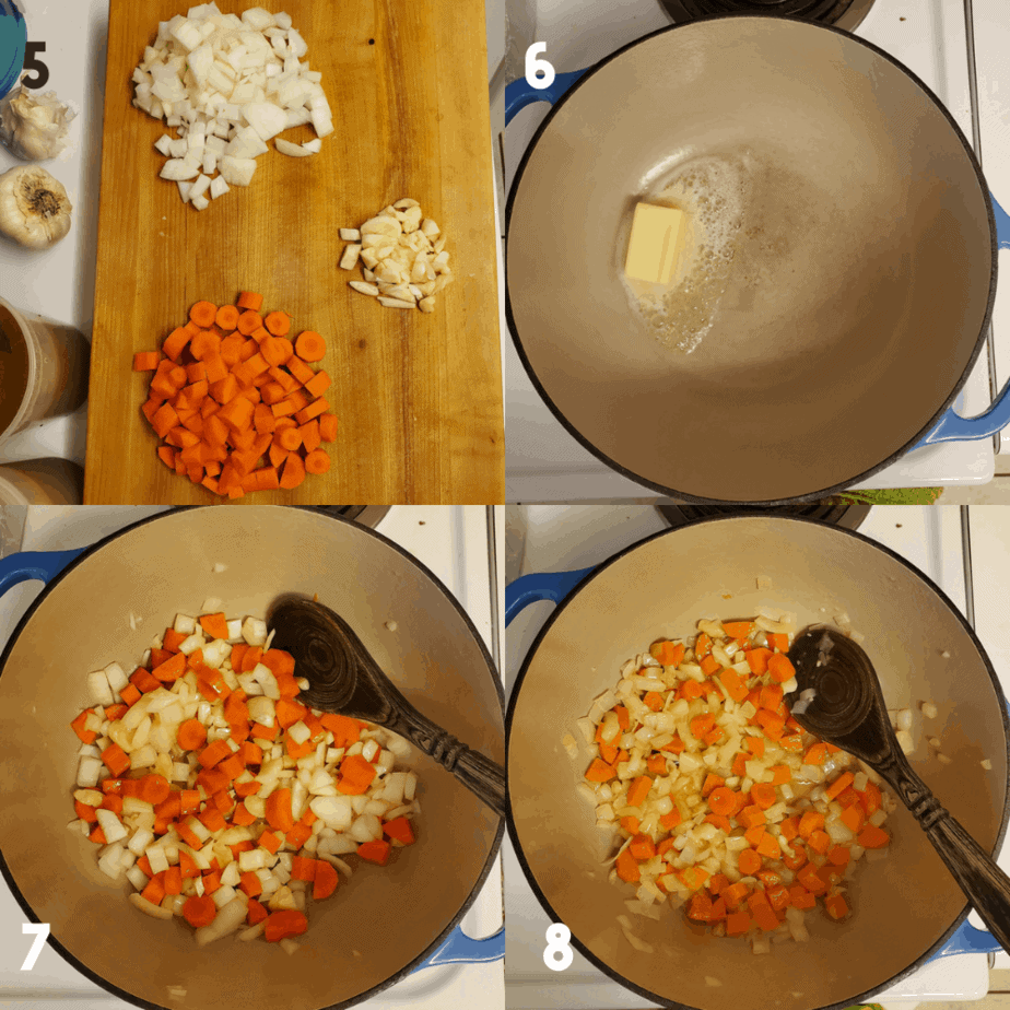 Collage of 4 images showing the process steps. 1 how to dice carrots, onions and garlic. 2 Butter foaming in a dutch oven. 3 is all chopped vegetables into dutch oven. 4 is softened vegetables in dutch oven.