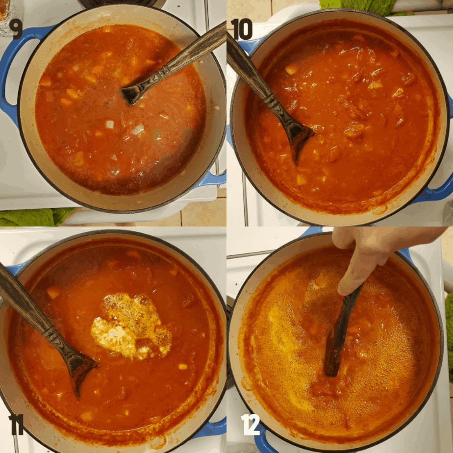 Collage of 4 images showing the process steps. 1 shows whole tomatoes and juices and chicken broth being added to dutch oven to vegetables. 2 shows how the soup reduces after 90 minutes in the dutch oven. 3 shows the foaming of the soup when baking soda is added. 4 is stiring in the baking soda in the broth in a dutch oven.