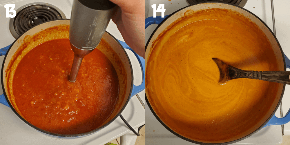 Collage of 2 images showing the process of cooking. 1 is an immersion blender pureeing the soup in the dutch oven. 2 is stiring heavy cream into the soup in a dutch oven.