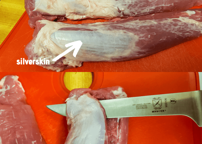Collage of 2 images. The first image is a close up of the silverskin on pork tenderloin and the second image is a boning knife demonstrating how to cut out the silverskin.