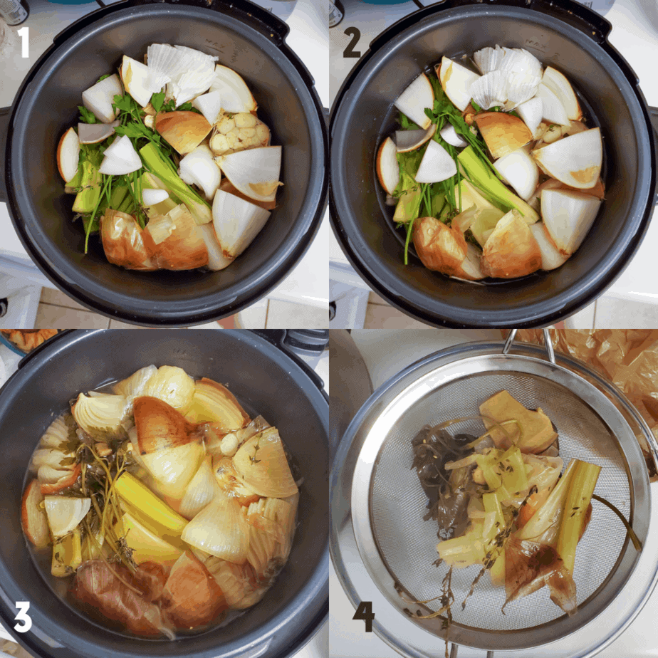 2x2 photo collage. 1) All aromatics in a pressure cooker, 2) water poured over aromatics 3) Cooked aromatics in pressure cooker 4) Solids being strained out of broth with a mesh strainer.
