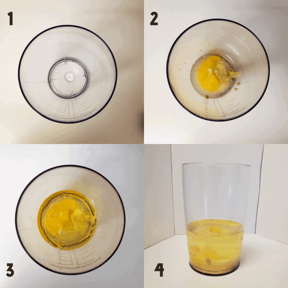 Photo collage, 2x2 photos. 1) An empty vessel. 2) Mustard, lime juice and egg in the vessel from photo 1. 3) Oil poured on top of previous ingredients. 4) A side view of the oil sitting on top of the mustard, egg and lime juice in vessel.