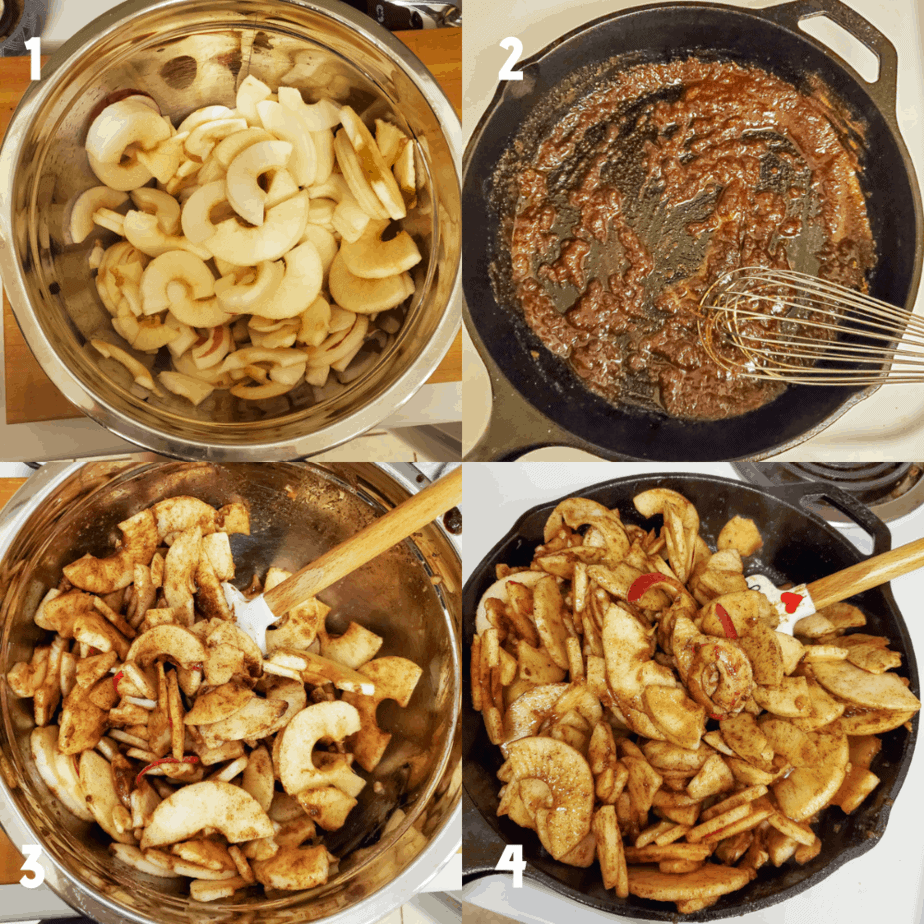 2x2 photo collage of the process. 1) Peeled, cut up and cored apple slices in a large mixing bowl 2) Melted butter with cinnamon, sugar and salt whisked in, in a cast iron skillet. 3) Apples covered in cinnamon sugar butter mixture. 4) Cooking apple mixture in cast iron skillet on the stove.