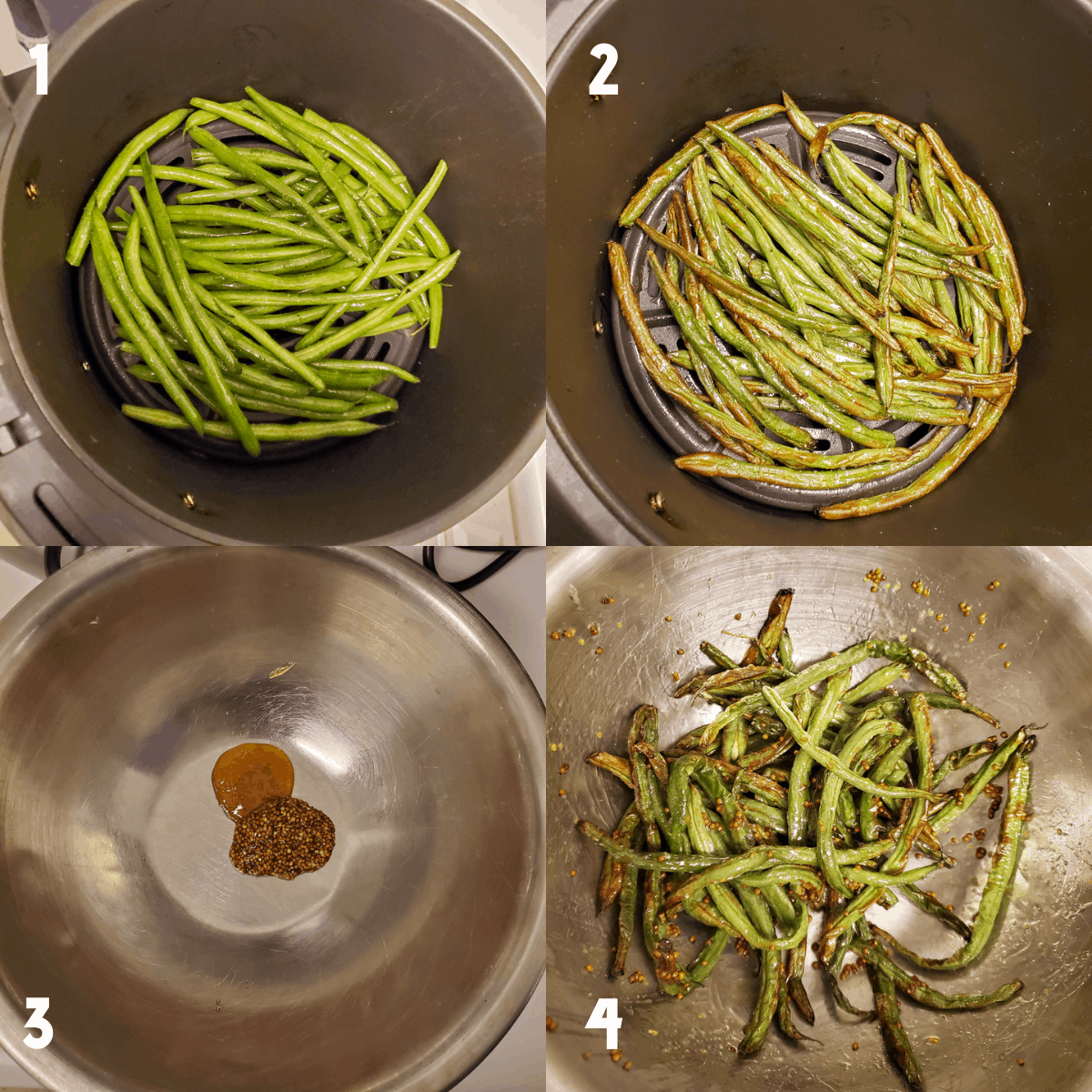 2x2 photo collage showing the cooking process. Photo 1: Raw green beans in the air fryer, seasoned and ready to be cooked. Photo 2: Fully cooked green beans in the air fryer. Photo 3: Honey and mustard in a large metal mixing bowl. Photo 4: Cooked green beans tossed in the honey and mustard combination in a large metal mixing bowl.
