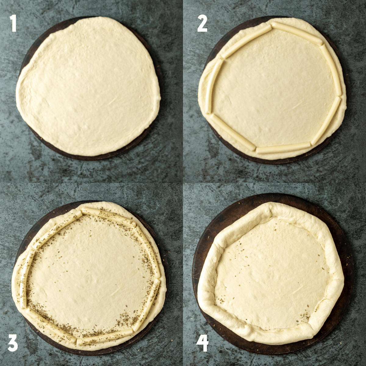 A 2x2 collage of process photos. Photo 1: A raw pizza dough rolled out thin on a pizza stone. Photo 2: A raw pizza dough rolled out thin on a pizza stone with string cheese around the edges of the crust. Photo 3: Italian seasoning sprinkled over the string cheese. Photo 4: Raw pizza dough is pulled over seasoned string cheese.