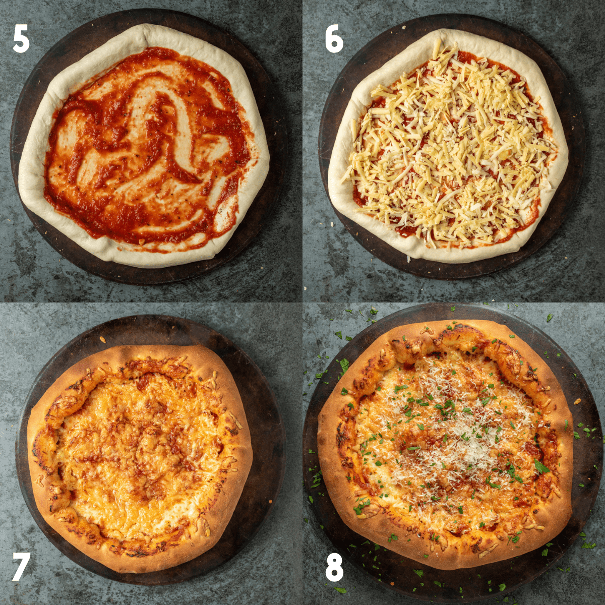 A second 2x2 collage of process photos. Photo 5: A raw pizza dough rolled out thin on a pizza stone, the crust has been sealed. Pizza sauce is added to the center of the pizza. Photo 6: Shredded cheese is evenly added on top of the suace. Photo 7: After the pizza has been cooked, crust is golden. Photo 8: Full cooked stuffed crust pizza on pizza stone, garnished with parmesan and parsley.